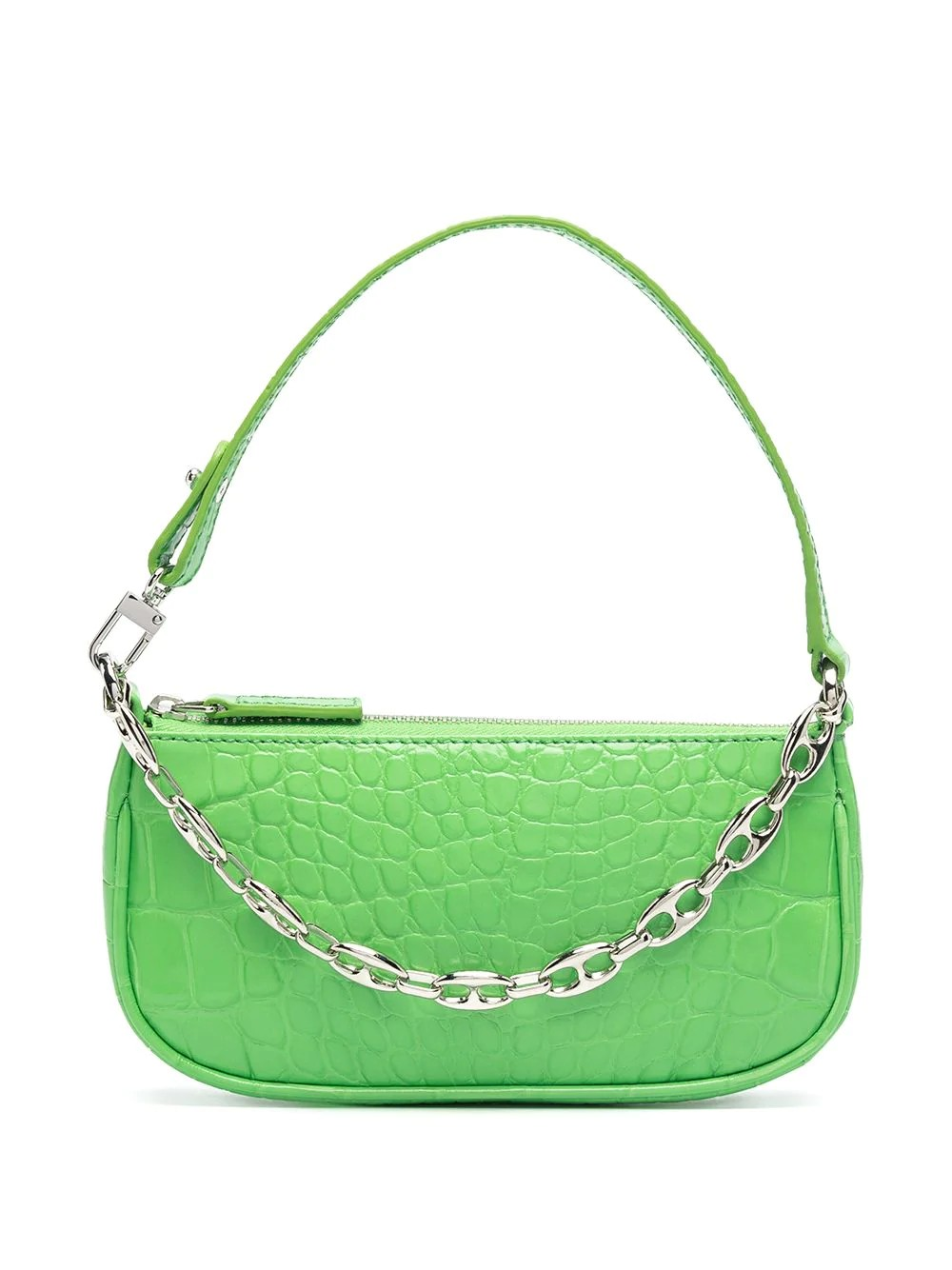 Mini Rachel Grass Circular Croco Embossed Leather