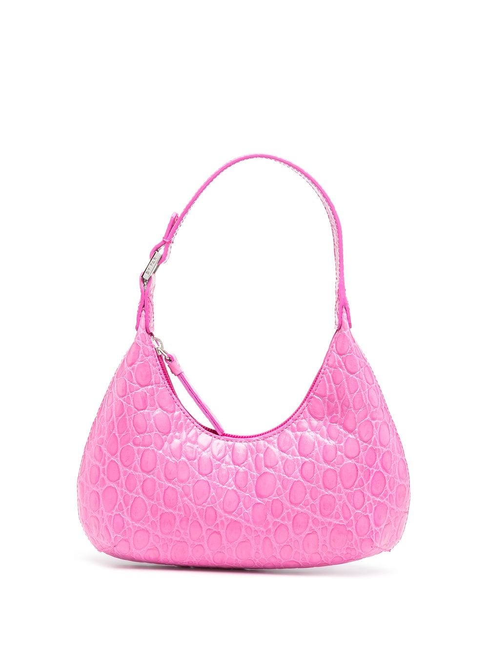 Baby Amber Fuchsia Circular Croco Embossed Leather
