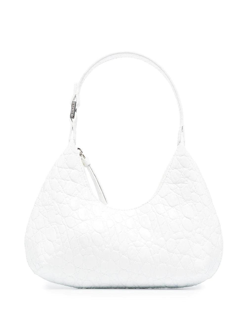 Baby Amber Pure White Circular Croco Embossed Leather