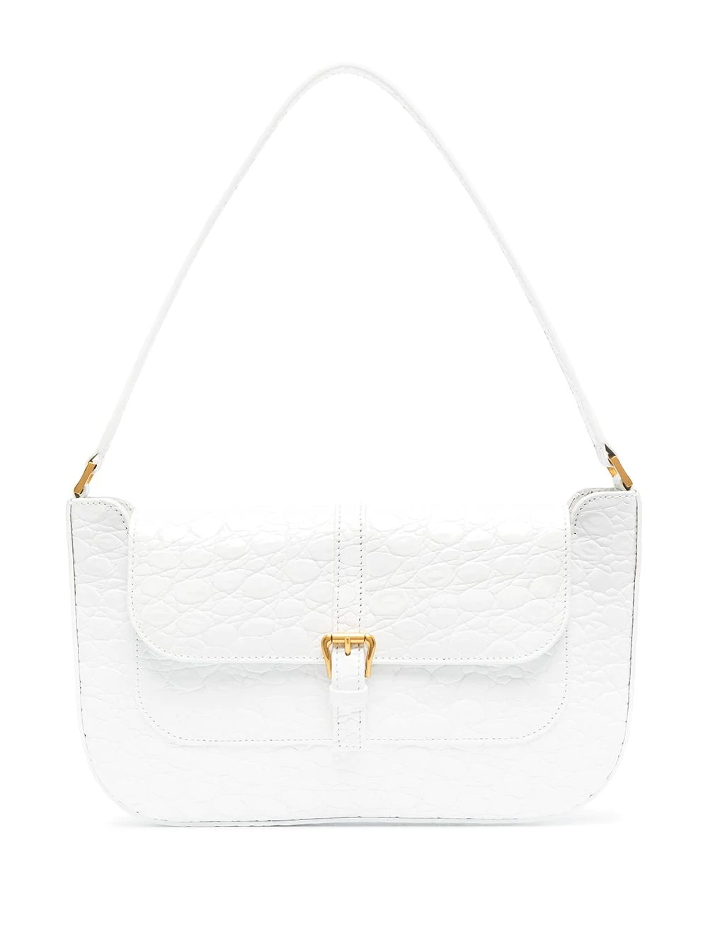 Miranda Pure White Circular Croco Embossed Leather