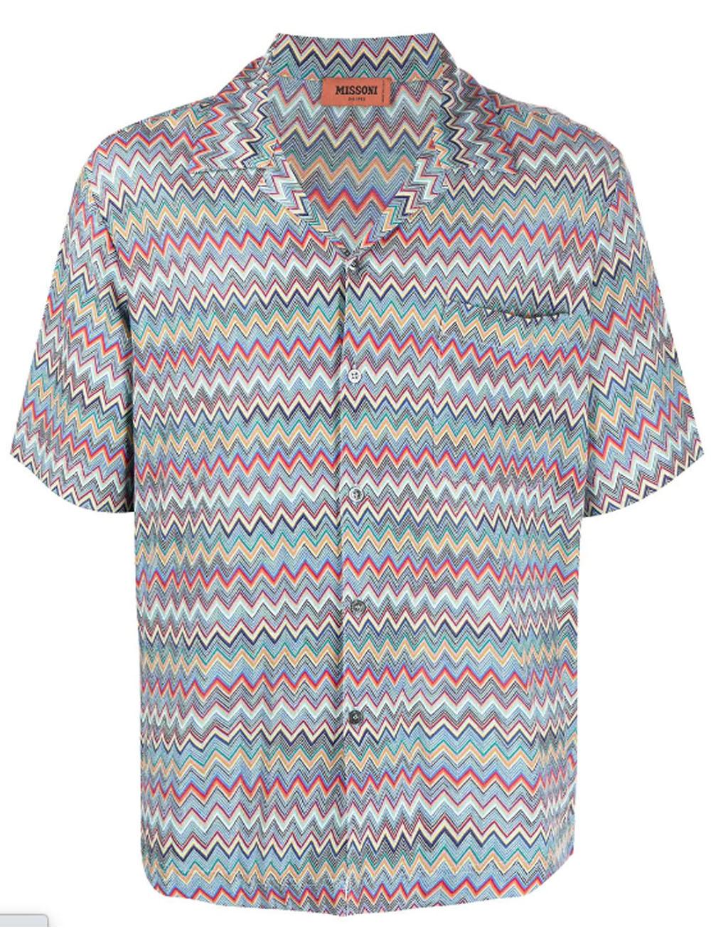 Camicia con stampa a zigzag