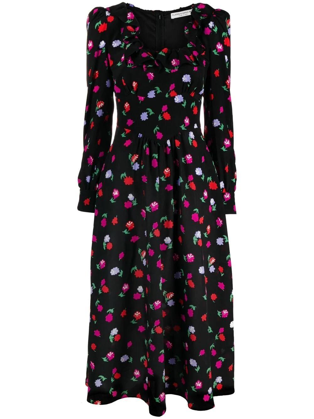 FLORAL PRINT SILK DRESS WITH RUFFLES
