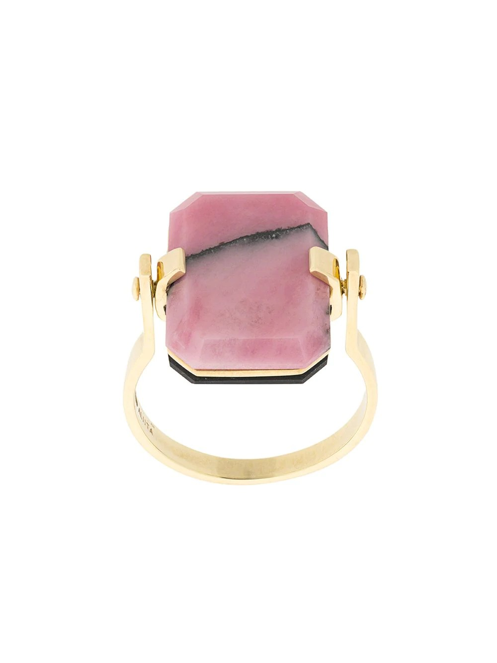 9kt yellow gold ring with black agate and pink rodonite octagonal cut